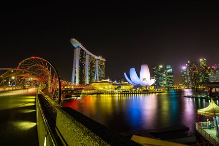 Singapore skyline at night in Singapore city Editorial