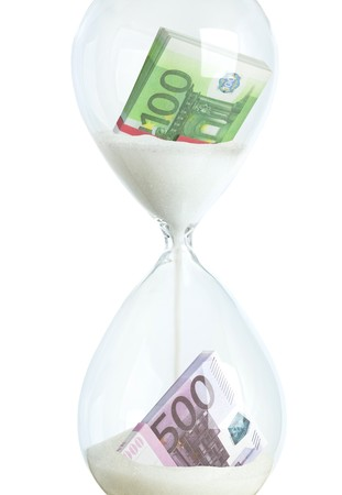 Collage - money in hourglass as the concept of banking financial investment, color image isolated on a white background