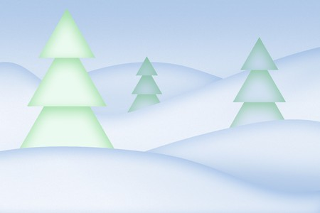 Clean simple snowy abstract background. Trees on the snowdrifts. photo