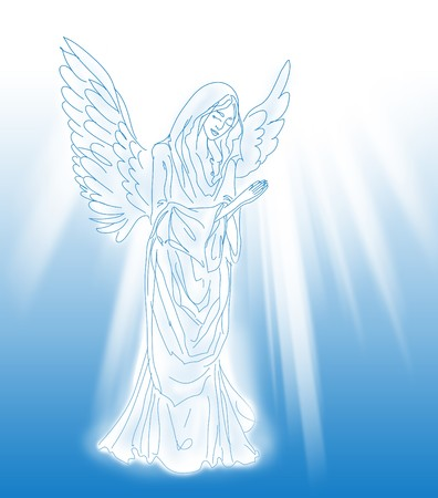 praying: praying angel sketch over the blue background with  light rays Stock Photo