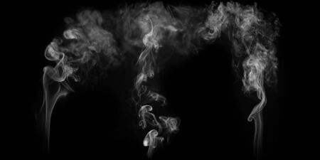 isolated white smoke on the black backgrounds Stock Photo