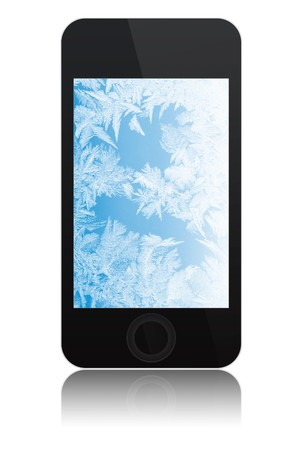 modern abstract touchscreen phone with ice on screen, isolated on white background photo