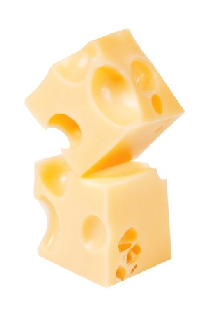 Two cubes of cheese image isolated on a white background