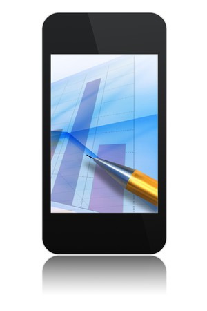 modern abstract touchscreen phone with chart and pen on screen , isolated on white background Stock Photo