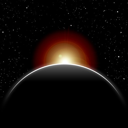 eclipse, part of the sun closed by dark planet, stars in the night sky