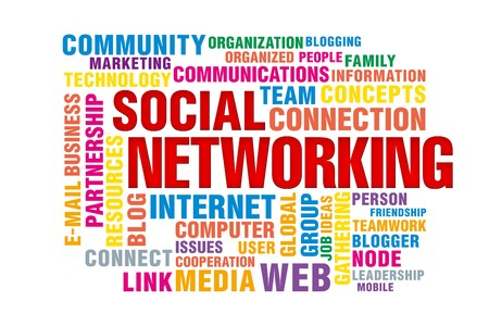 social  networking concept of new media communication, image isolated on a white background Stock Photo