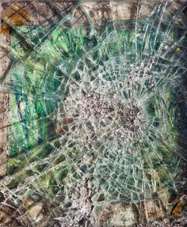 shards: urban vandalism, broken glass close-up Stock Photo