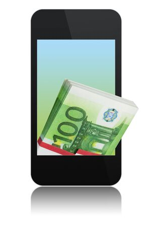 modern abstract touchscreen phone with stack of 100 euro on screen, isolated on white background Stock Photo