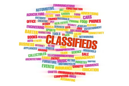 words of classifieds isolated on a white background Stock Photo