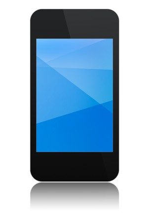 modern abstract touchscreen phone with a blue display, isolated on white background