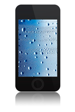 modern abstract touch screen phone with water drops on screen, isolated on white background Stock Photo