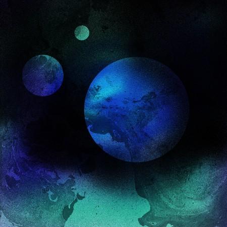 fantasy space planet airbrushing illustration background Stock Photo