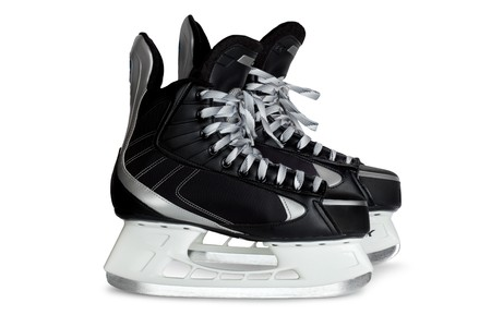 wintersport: pair hockey black skates image isolated on a white background