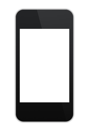 modern abstract touchscreen phone with a blank screen, isolated on white background