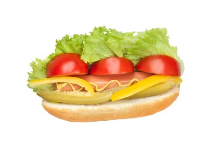 cucumber salad: hot dog with fresh tomato, salad, yellow peppers and pickled cucumber seasoned with mustard isolated on a white background