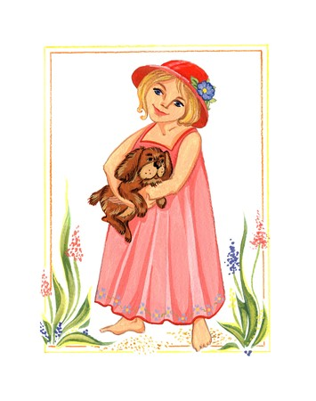 The little girl in a pink dress with a dog on a meadow on a sunny day. Beautiful drawing gouache. photo