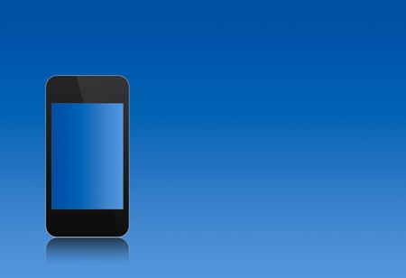modern abstract touchscreen phone with a blank screen over the blue background