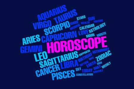 names of zodiac constellation and related words horoscope over a deep blue background photo