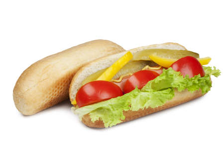 cucumber salad: hot dog with fresh tomato, salad, yellow peppers and pickled cucumber seasoned with mustard and bun for hot dog  isolated on a white background