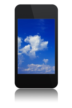 modern abstract touchscreen phone with sky on screen, isolated on white background