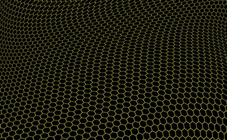nobel: structure of graphene in the form of yellow hexagons over black background
