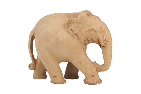 handicraft: Indian elephant carved out of wood handicraft isolated on a white background