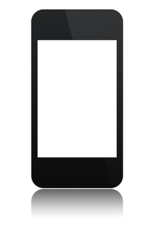 modern abstract touchscreen phone with a blank screen, isolated on white background photo