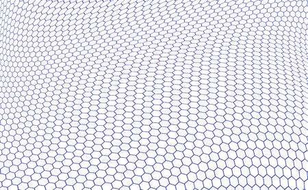 nobel: structure of graphene in the form of blue hexagons over white background
