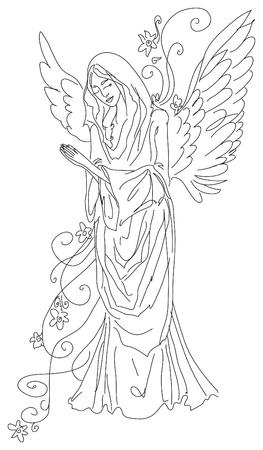 praying angel sketch photo
