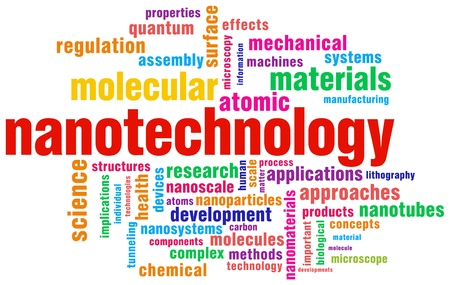 relevant: nanotechnology relevant words isolated over white background