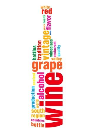 pertinente: La nube de etiquetas pertinentes de la palabra vino en la forma de la botella de contorno aislada sobre fondo blanco
