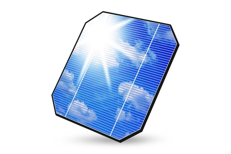 solarenergy: solar panel  with reflection of sky, clouds and sun isolated on a white background