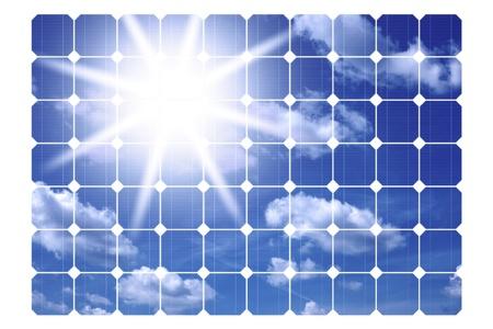 solarenergy: illustration of solar panels isolated on a white background Stock Photo