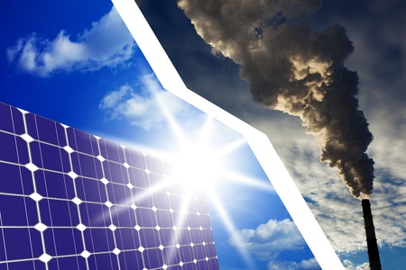 The concept of solar cells instead of fossil fuels, the clean energy vs air pollution