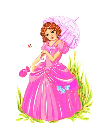 Beautiful young princess in a pink dress with an umbrella. The image gouache.