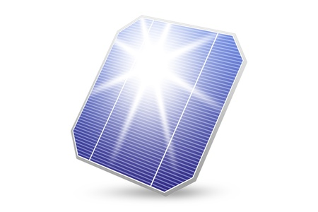 solar energy panel with sun reflection isolated on white photo