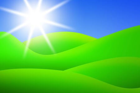 lea: bright green meadows and blue sky with sun in summer  illustration
