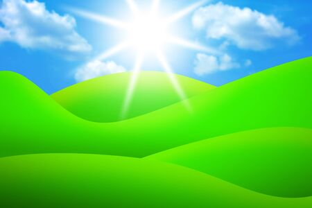 lea: bright green meadows and blue sky with sun and clouds illustration
