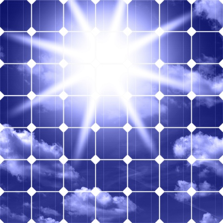 solarenergy: Image of solar panels - clean energy source on the background of sky and bright sun