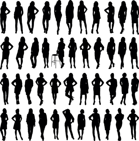 vector woman silhouettes collection isolated over white background