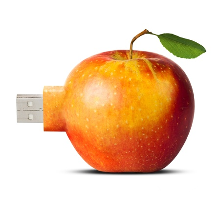 computer accessory: apple with usb flash card connector - new technology concept, isolated over white background Stock Photo