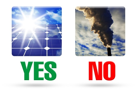 The concept of solar cells instead of fossil fuels, the clean energy vs air pollution, image isolated over white background photo