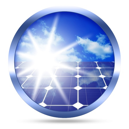 solarenergy: Image of solar panels - clean energy source image isolated over white background Stock Photo