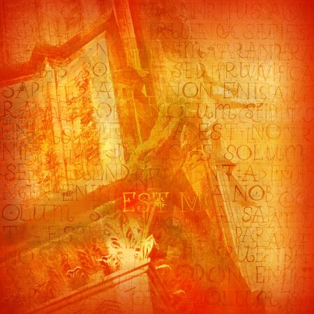 gothic architecture: orange vintage background with the natural texture and the elements of Gothic architecture