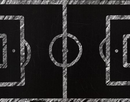 soccer field drawing with chalk on a blackboard Stock Photo - 13505611