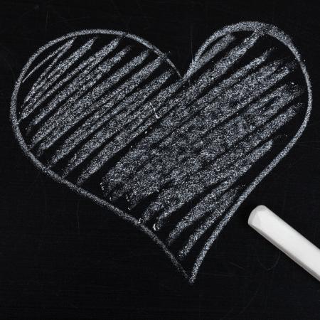 heart drawn in chalk on a blackboard