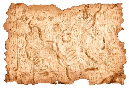 carte au trésor: Carte au trésor. Vieille carte dessinée sur une feuille de papier qui montre le chemin aux trésors de pirates. Image isolée sur fond blanc. Banque d'images