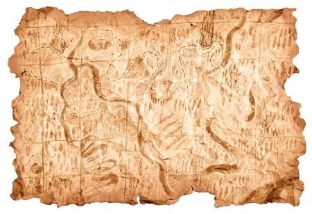 schatkaart: Schatkaart. Oude kaart getekend op een stuk papier dat de weg naar de schatten van piraten toont. Afbeelding geïsoleerd op witte achtergrond. Stockfoto