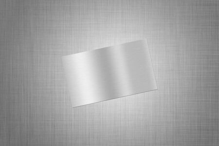 metall: card with a picture of  brushed metall, on the textured background Stock Photo