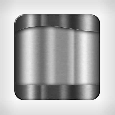 Metal texture icon (button) on neutral background, template for applications (app), web user interfaces, internet sites and business presentations. photo